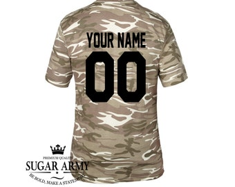 Custom camo tshirt with your name and number, Army tee with name and team number, Cotton preshrunk army tees, Custom tees