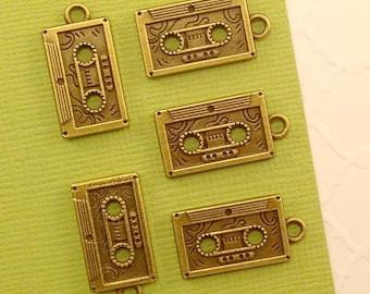 Cassette Tape Charm. 10 pcs Antique Bronze Tone Cassette Tape Charm Pendant 22x11mm. Music Charm. Rocker Charm. 80s Charm. - (10 - 0059B)