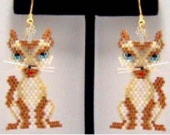 Siamese Kitty - Brick Stitch Earrings Bead Pattern