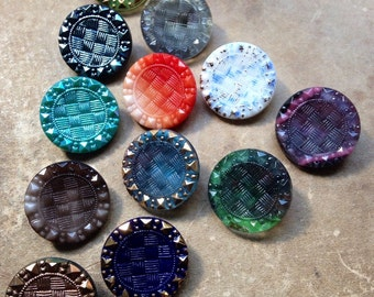 12 beautiful old collector / glass buttons - Art Nouveau knobs - 12 colors