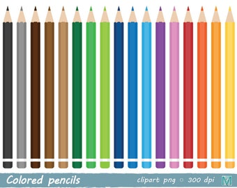 Colored pencils clip art, Stationery - clip art images - for Scrapbooking Card Making Paper Crafts - instant download digital file - PNG
