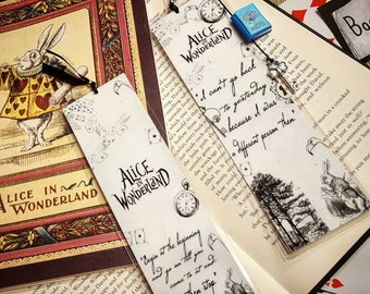 Alice in Wonderland bookmark - Handmade