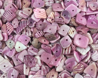 Shell Beads-Pink and Purple Shell Beads-Assorted Size Shell Pieces-50pcs Shell Beads