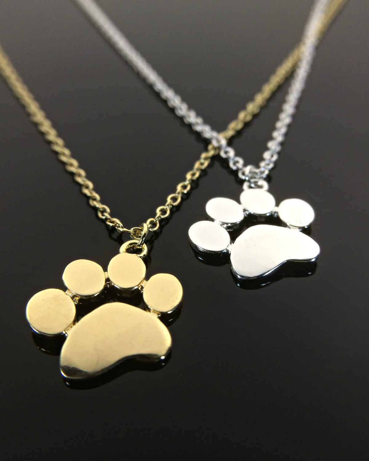 Silver Paw Cavachons: Paw Print Necklace Silver Or Gold Cat And Dog By