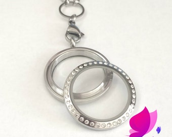 Choose your own charms, Screw Top Stainless Steel Locket with crystals, Floaing Locket, Memory Locket, Mother's Day