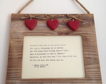 SALE**Rustic wood effect frame with hand-typed quote, poem or lyrics of your choice. Birthday paper anniversary