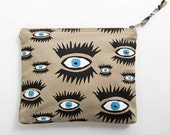 Beige Open Your Eyes Screenprinted Cosmetic Purse