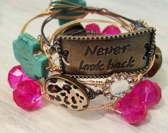 Never Look Back Set, Bangle Set of 5, Wire Wrapped Bangle Set, Wire Wrapped Bangle, Wire Wrapped Bangles