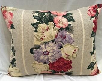 Floral Barkcloth Pillows, Vintage Bark Cloth Decorative Pillow Shabby Chic Throw Pillow Mid-Century Fabric Pillow Cover
