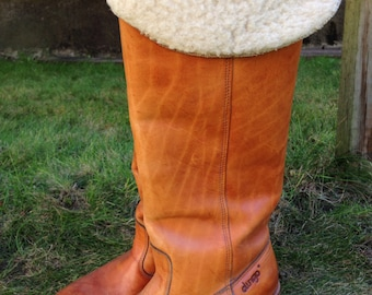 Vintage/Dingo/leather/Wool/size 7 /knee high boots