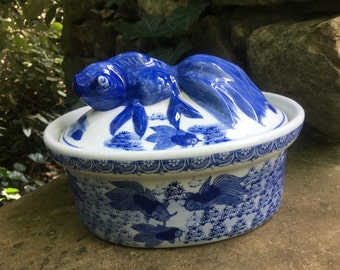 Blue and White Koi Fish Dish with Lid