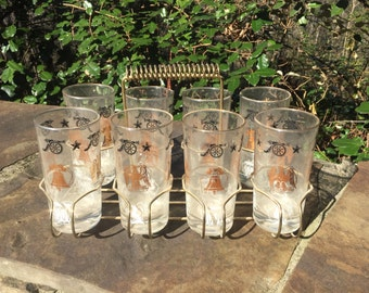 Liberty Glass Set with Carrier - 6 Glasses - Mid Century