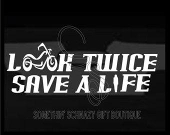 Look Twice, Motorcycle Awareness, Car Decal, LapTop Decal, Tablet Decal, Look Twice for Motorcycles, Motorcycle Decal, Bike Awareness
