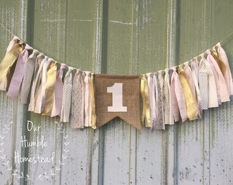 Pale Pink and Gold High Chair Banner, Princess Party, Birthday Decor, Personalized, First Birthday, Highchair Banner, Pink and Gold Banner