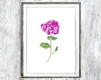 Vintage Botanical Print Customize instant digital download Watercolor Print Purple flower hydrangea watercolor painting  watercolor flower
