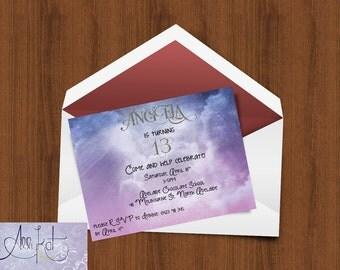Printable DIY Birthday Invitation Girls Teen 16 Sixteen - In The Clouds