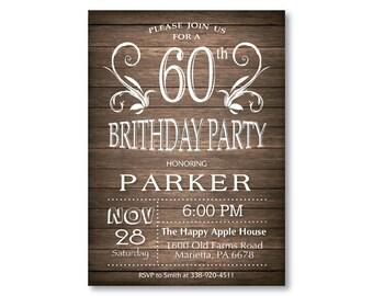 60th Birthday Invitation for men. Rustic 30th 40th 50th 70th 80th Any Age. String Lights Wood. Adult Birthday Invitation. Printable Digital