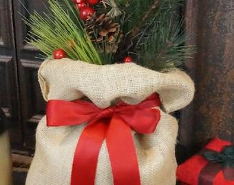 Burlap Christmas Bag,  Gift Bag, 12 x 19 in. Big/Medium/ Small