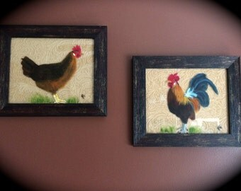 Rooster and Hen w/shipping