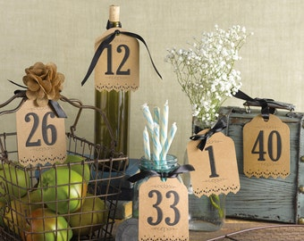 Kraft Paper Table Number Tags For Wedding Reception Or Other Special Event  / Table Number Tags 1 To 40 With Black Ribbon