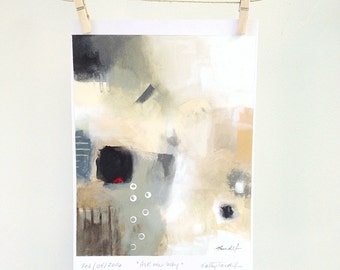 Ask me why - original abstract acrylic painting on paper ( 10 x 8 inch)