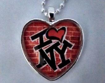 New York necklace, I love NY, New York pendant, heart shaped pendant, NY jewelry.