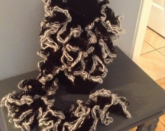 Handmade Black and White Lacey Scarf