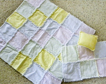 Baby Doll Rag Quilt // Pillow // Burp Cloth // Baby Doll Accessories // Birthday Gift // Little Girl Toys