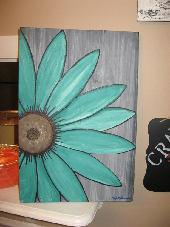 turquoise flower daisy painting rustic flower wood flower wall. Black Bedroom Furniture Sets. Home Design Ideas