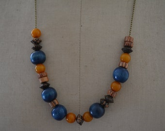 necklace, wooden beads and beads of amber