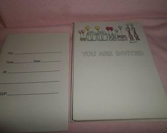 Vintage Sandra Boynton Card lot Invitations  6 cards You Are Invited