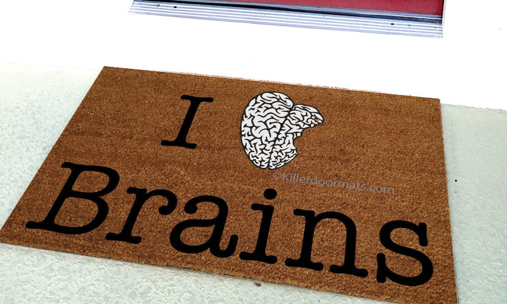 I love brains custom handpainted funny geek welcome doormat by - Geeky doormats ...