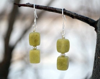 Jade earrings, Jade drop earrings, Jade silver earrings, French hook jade earrings, Silver earrings with jade, Olive jade earrings.
