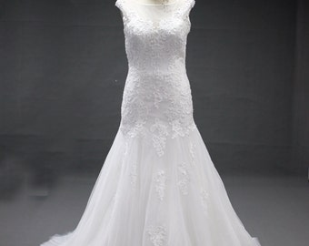 White Cap Sleeve lace and tulle wedding dress