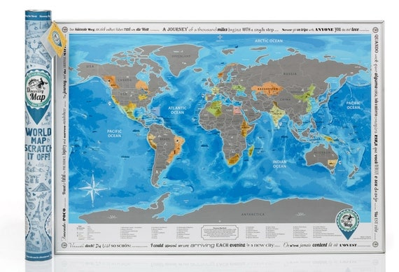 Scratch off World Map, Large Size, Superdetailed, Traveler Gift, English
