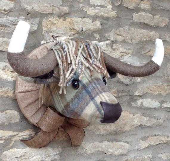Handmade Tweed Highland Cow Head Faux Taxidermy Green Checked