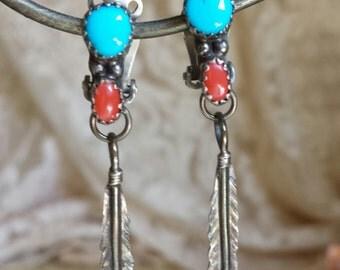 Vintag Navajo Coral Turquoise Sterling Drop Earrings Sterling Navajo Earrings Feather Coral Turquoise