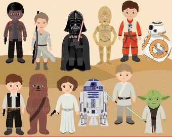 Starwars Clipart, Star Wars Clip Art, The Force Awakens Clipart, Starwars Digital, R2D2, CP30, BB8, Light Saber Clipart, Star Wars Clipart