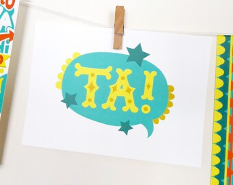 Ta/Thank You Colourful Postcard / Print / Thank You Card / A6 / Josie Gledhill Design