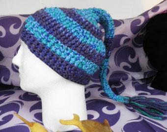 Purple Heather & Blue Green Crochet Pixie Fairy Hat  Size M - L