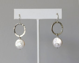 Sterling Silver White Coin Pearl Earrings