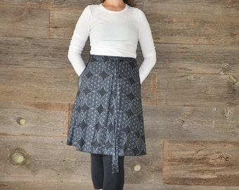 A-Line Skirt - Wrap Skirt - Black and White - Linen Cotton Blend