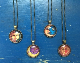 Mystic sun and moon pendant necklaces
