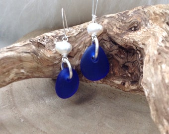 Cobalt blue Scottish sea glass and freshwater pearl earrings with sterling silver