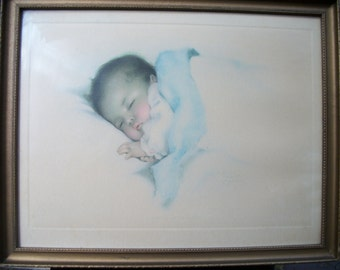 "Antique Original Bessie Pease Gutmann "" A Little Bit of Heaven"" Baby Lithograph Nursery Framed 90+ Years"