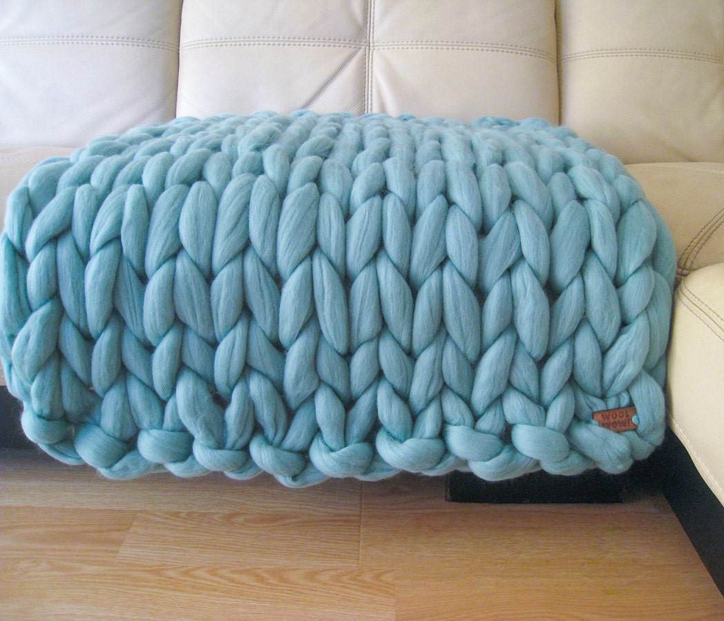 Super Chunky Baby Blanket. Giant Knitted Merino Wool Throw. Super Bulky Yarn....