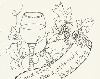 Instant Download Coloring Page- Wine & Friends- Coloring for joy