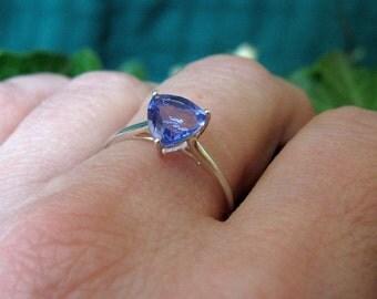 Pale blue stone set ring