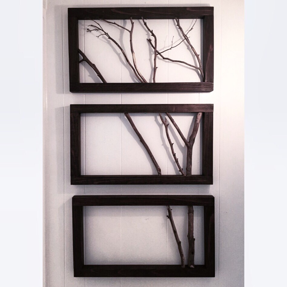 3 frame branch art wall decor wall art free shipping. Black Bedroom Furniture Sets. Home Design Ideas