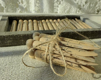 """Vintage wooden decorated clothespins, theme poem """"Infinito"""" by Leopardi"""